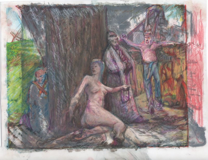 A startle female begins to flee from her place of rest at the base of tree, scared by a little boy behind the tree.  A priest leans against the tree looking up and a shirtless man walks in on it all wearing a tall crown and running shoes.