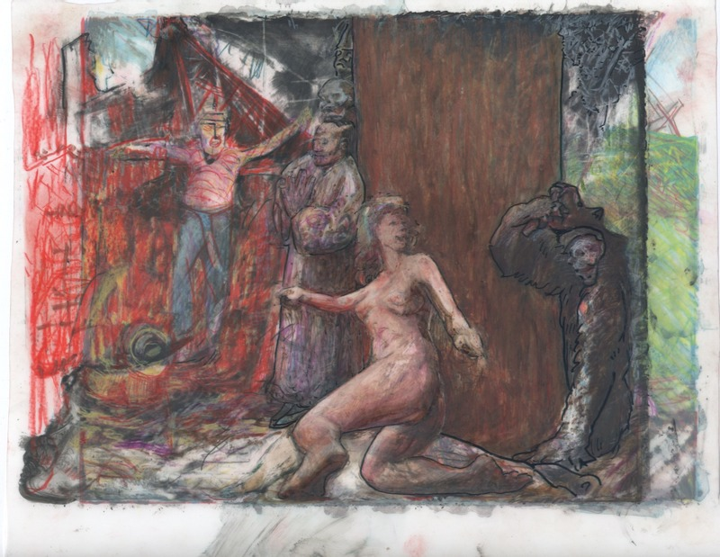 A startle female begins to flee from her place of rest at the base of tree, scared by a man in a bear suit lookig both towards and away from the female.  A praying priest leans against the tree gazing down, and a shirtless man rushes into the party from a red region.