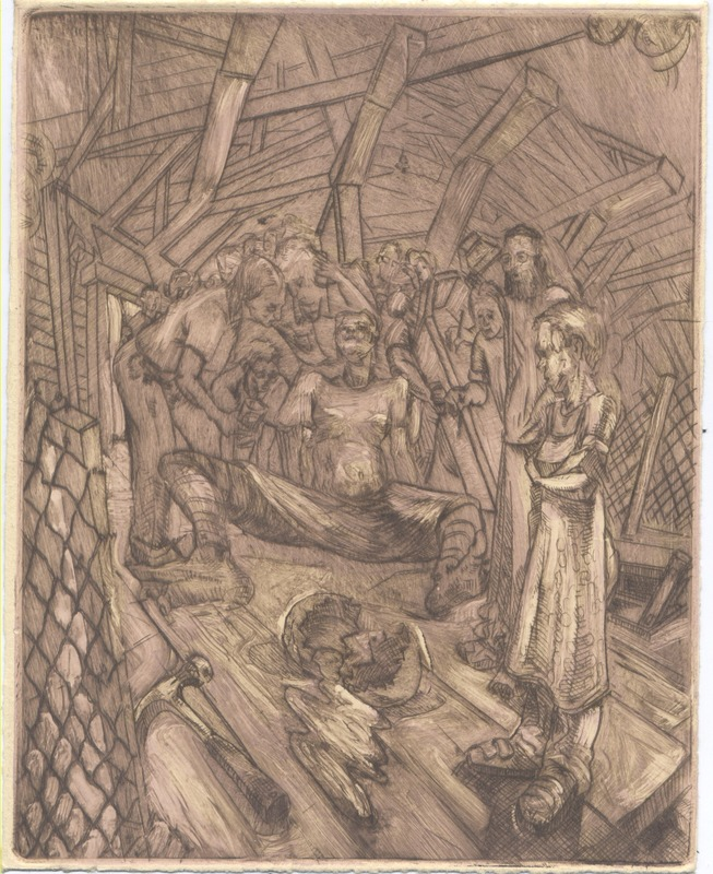 In an attic of a barn, an aproned woman and a couple look down on wooden planks where a hammer rests near a cracked egg.  Grouped behind, people gather around a lady with chicken feet.